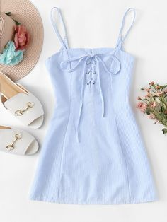 Lace Up Striped Cami DressFor Women-romwe trendy outfits Lace Up Striped Cami Dress Cute Summer Outfits, Cute Casual Outfits, Spring Outfits, Casual Dresses, Casual Clothes, Spring Clothes, Clothes Women, Dress Clothes, Teen Fashion Outfits