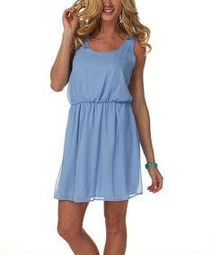 This Light Blue Bow Sleeveless Dress by Pinkblush is perfect! #zulilyfinds