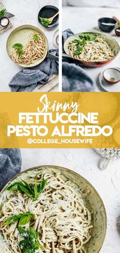 This is a simple yet flavorful Skinny Fettuccine Pesto Alfredo recipe that is lightened up with cashew milk, but it is still just as creamy and delicious! Fettuccine Recipes, Pasta Dinner Recipes, Vegetarian Recipes Dinner, Healthy Recipes On A Budget, Healthy Meal Prep, Healthy Breakfast Recipes, Easy Weeknight Dinners, Easy Healthy Dinners, Vegetarian Quinoa Chili