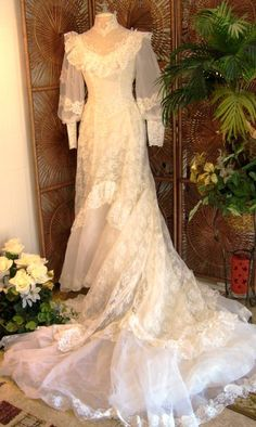 RESERVED Vintage White Lace Off The Shoulder Wedding Dress Southern Belle