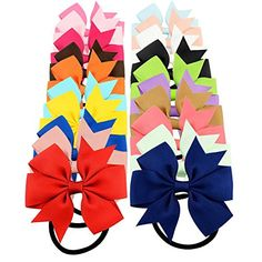 YOY 20 Pcs Fashion Baby Girls Boutique Hair Ties Ponytail Holders - Stretchy Elastic Ropes Rubber Bands Hair Accessories Set with Grosgrain Ribbon Bows for Toddlers Teens Kids ** Find out more about the great product at the image link.