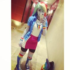 """""""Finally got to see Rainbow Rocks as Equestria Girls Rainbow Dash and it was soooo awesome! Cute Disney Drawings, Anime Girl Drawings, Mlp My Little Pony, My Little Pony Friendship, Rainbow Dash, Cartoon Characters As Humans, Cosplay Costumes, Cosplay Ideas, Costume Ideas"""