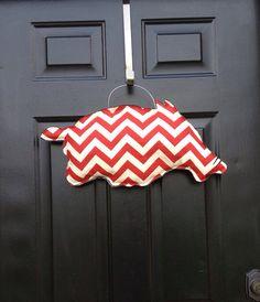 Red and White Chevron Zig Zag Arkansas Razorback Door Wreath on Etsy, $30.00