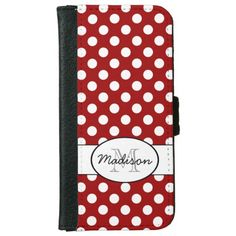 Trendy Vintage Dark Red and White polka dots Monogram iPhone 6 Wallet case by #PLdesign #PolkaDots #iPhone6