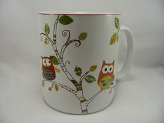 Owls Porcelain Coffee Cup Mug Enchanted Woods Tree 222 Fifth Large 24 oz NEW    #222Fifth