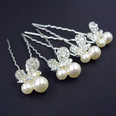 Bridal Prom Elegant Pearl Crystal Butterfly Hair Sticks PK OF 4 -- Read more at the image link. (This is an affiliate link) Butterfly Hair, Hair Sticks, Hair Pins, Wedding Ceremony, Pearl Necklace, Image Link, Prom, Pearls, Bridal