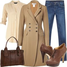 A fashion look from October 2011 featuring beige top, slim fit coat and torn jeans. Browse and shop related looks. Winter Fashion Casual, Autumn Winter Fashion, Casual Winter, Winter Style, Paul Joe, Beige Top, Material Girls, My Style, Classic Style