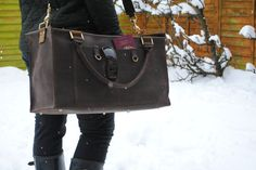 Large Handmade Leather Duffle weekender bag case by HenandTillLeather on Etsy