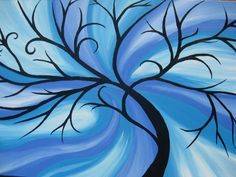 blue tree of life painting on canvas large huge by SheerJoy, $288.00