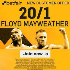 Mayweather 20/1 To Win Betfair Promo Code + No Risk + £100 Credited in free bets + T&C's apply - UFC on 27/08/2017 05:00am. Betfair Promo Code for Mayweather 20/1