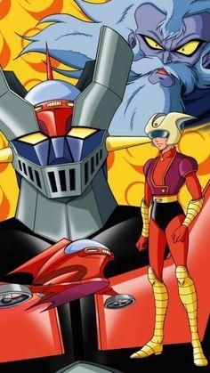 cartoons japan Mazinger Z by Go Nagai - Gosaku Ota (Kazuhiro Ochi cover) Old School Cartoons, Old Cartoons, Classic Cartoons, Days Anime, Battle Robots, Robot Cartoon, Japanese Robot, Japanese Superheroes, Vintage Robots