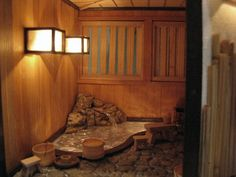 Japanese house and furniture Japanese Bath House, Japanese Bathroom, Japanese Soaking Tubs, Kitchens And Bedrooms, Relaxation Room, Modern Dollhouse, Interior Garden, Japanese Architecture, Decoration