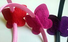 Butterfly headband magenta pink felt butterfly / por DusiCrafts