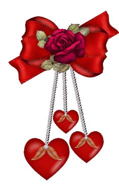 3 Ruby Red Hearts Dangling Together