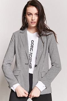 b31797ed4a Houndstooth Single-Breasted Blazer Forever21