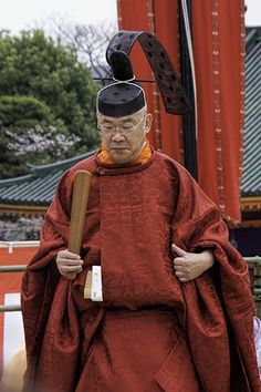 A Kannushi (priest) at Heian Shrine in Kyoto