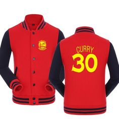 NBA Warriors Stephen Curry No.30 baseball jacket