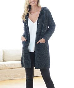 Another great find on #zulily! Black Hooded Button-Up Cardigan #zulilyfinds