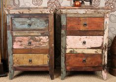 Boho Chic 3 Drawer Nightstand by hammerandhandimports - Etsy Funky Furniture, Repurposed Furniture, Painted Furniture, Retro Pink Kitchens, 3 Drawer Nightstand, Bedside Cabinet, Boho Chic, Shabby Chic, Reno