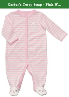 Carter's Terry Snap - Pink White Stripe Kitty-3M. Carters Terry Snap - Pink White Stripe Kitty Carter's is the leading brand of children's clothing, gifts and accessories in America, selling more than 10 products for every child born in the U.S. The designs are based on a heritage of quality and innovation that has earned them the trust of generations of families. .
