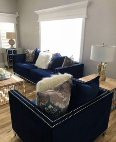 blue living room design ideas you must have 1 Blue Living Room Decor, Glam Living Room, Home Decor Bedroom, Interior Design Living Room, Living Room Designs, Blue Living Room Furniture, Blue Home Decor, Deco Studio, Blue Furniture