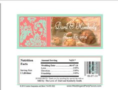 Seashell Damask wedding candy bar wrapper Lavender and mint Candy Bar Wedding, Wedding Favors, Baby Shower Favors Girl, Damask Wedding, Candy Bar Wrappers, Printing Labels, Personalized Wedding, Just For You, Mint