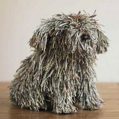 Recycled Newspaper Dog
