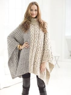 Free Knitting Pattern for Chatsworth Cable Poncho - Pullover poncho with an 8 ro. Free Knitting Pattern for Chatsworth Cable Poncho - Pullover poncho with an 8 row cable on one half and ribbing on the o. Poncho Knitting Patterns, Crochet Poncho, Loom Knitting, Knit Patterns, Free Knitting, Crochet Vests, Modern Patterns, Knit Shawls, Crochet Edgings