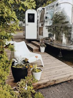 Tagged: Exterior, Airstream Building Type, Metal Siding Material, Metal Roof Material, and Tiny Home Building Type. Photo 10 of 18 in A Couple Transform a Vintage Airstream Into a Scandinavian-Inspired Tiny Home Airstream Living, Airstream Remodel, Airstream Renovation, Airstream Interior, Trailer Remodel, Airstream Decor, Trailer Interior, Glamping, Airstream Camping