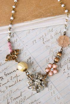 Sweet romance.vintage assemblage rhinestone necklace. Tiedupmemories