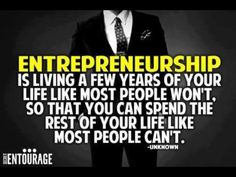 Entrepreneurship can look very glamorous from the outside in. Is entrepreneurship truly working a few years of your life so you can enjoy the rest in a way Business Motivational Quotes, Business Quotes, Success Quotes, Inspirational Quotes, Business Tips, Online Business, Business Major, Mindset Quotes, Motivational Pictures
