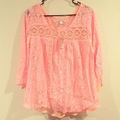 NWT Blouse Peach, lace details on front, sleeves, and top of back American Eagle Outfitters Tops Blouses
