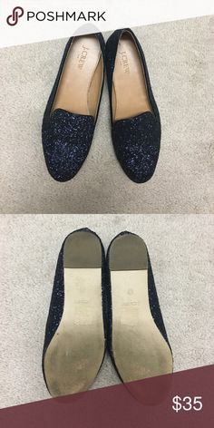 J. Crew glitter loafers worn twice Follow to yellow brick road in these navy glitter loafers! J. Crew Shoes Flats & Loafers