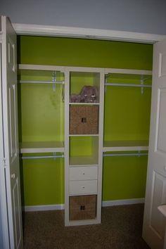 Put baby's shelf in his closet. Nursery Closet-- looks like expedit shelving + ikea wall mounted shelves Teen Closet, Master Closet, Closet Bedroom, Closet Redo, Ikea Bedroom, Bedroom Ideas, Shared Closet, Nursery Closet Organization, Closet Storage