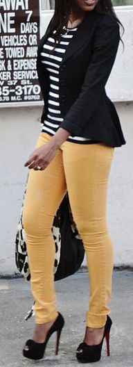 Black blazer, striped shirt, yellow skinny jeans, & peep toe heels