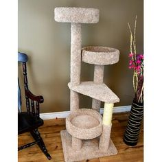 We are excited to bring to you our New Cat Condos Large Cat Tower. At 61 inches tall this cat tower provides the perfect height for your kitties.