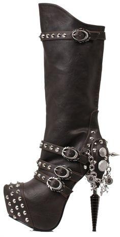 Hades Shoes - Valda Black Steampunk Boots - 5.5 / Black