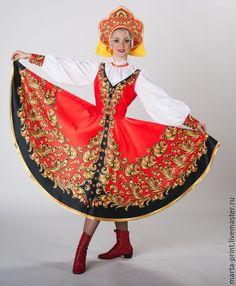 Купить Русский танец - разноцветный, хохлома, хохломская роспись, сарафан, русский народный костюм
