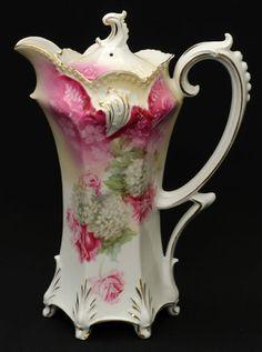 Antique CHOCOLATE POT. Chocolate Cups, Chocolate Coffee, Porcelain Vase, Fine Porcelain, Tea Cup Saucer, Tea Cups, Tea Pot Set, Teapots And Cups, Vintage Dishes