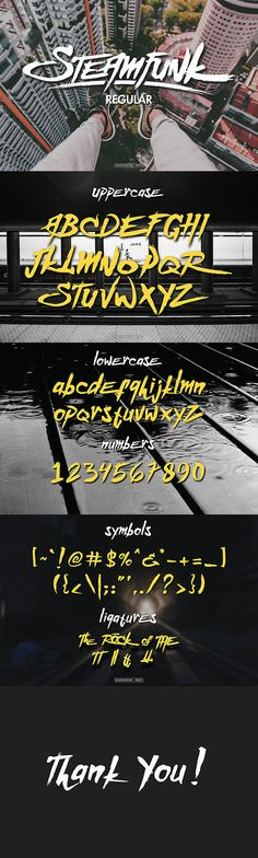 Buy Steamfunk Typeface by miaodrawing on GraphicRiver. Steamfunk type is hand painted typeface designed to help you to create the look of messy, rough, strong, grunge for a. Handwritten Fonts, Calligraphy Fonts, Script Fonts, New Fonts, Typeface Font, Typography Fonts, Typography Design, Typography Inspiration, Design Inspiration
