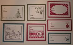 Tags for All; Christmas tree, snowmen, merry, holly, dotted background, ornament, snow flake