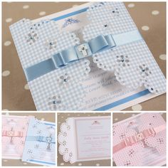 Lace doily cut pattern on gingham card, embellished with ribbon and gems each Baptism Cards, Handmade Invitations, Christening Invitations, Baby Christening, Personalised Box, Lace Doilies, Baby Cards, Folded Cards, Party Planning