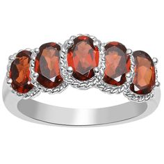 Orchid Jewelry 925 Sterling Silver 3 1/2 Carat Garnet Five Stone Ring