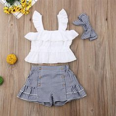 Ruffled Top and Striped Shorts Headband Set Ruffled Top and Striped Shorts Headband Set Girls Summer Outfits, Cute Outfits For Kids, Toddler Girl Outfits, Toddler Girl Dresses, Baby Outfits Newborn, Little Girl Dresses, Baby Girl Dress Patterns, Baby Dress Design, Baby Girl Fashion