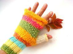 Women gloves fingerless gloves yellow fingerless by RainbowMittens,