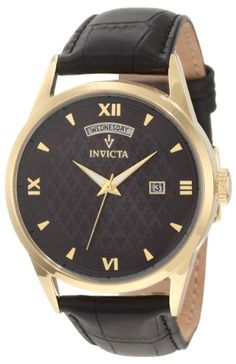 Men's Wrist Watches - Invicta Mens 12245 Vintage Grey Patterned Dial Black Leather Watch *** Details can be found by clicking on the image. (This is an Amazon affiliate link)