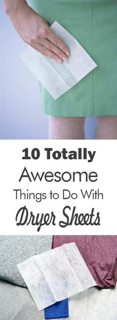 There are some amazing things you can do with dryer sheets, and guess what? They have absolutely nothing to do with the dryer. Read on to learn 10 totally awesome things you can do with dryer sheets. Cleaning Recipes, Diy Cleaning Products, Cleaning Solutions, Cleaning Tips, Dryer Sheet Hacks, Uses For Dryer Sheets, Arm And Hammer Super Washing Soda, Housekeeping Tips, Cleaners Homemade