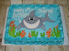 Shark Birthday Cake Sheet Cake  ~ Shark Week Under the Sea