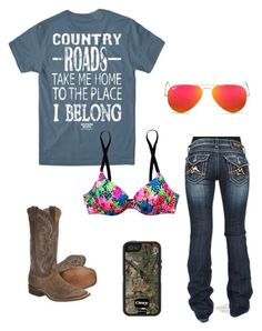 """""""Sorry y'all"""" by johndeerebabe on Polyvore featuring Miss Me, Ray-Ban and Victoria's Secret PINK"""