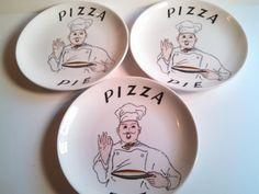 Vintage Ideal Ironstone China Pizza Pie Plates. Rare Mid Century Pizza Pie Plates.